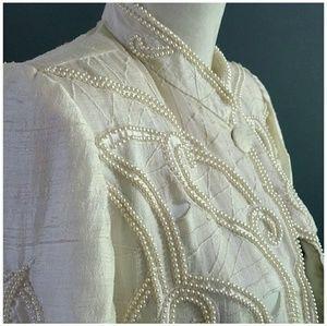 Indian Silk Wedding jacket w/pearls. Size Small